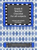 Alberta Grade 6 Teacher Data Binder with Indicator Checklists