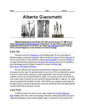 Alberto Giacometti Worksheet