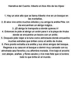 Alberto el Alce de los Alpes. Cuento de la letra A .