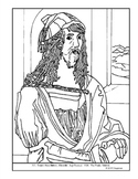 Albrecht Durer. Self-Portrait.  Coloring page and lesson plan ideas