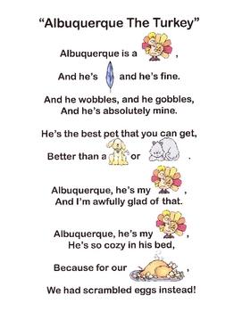 """Albuquerque The Turkey"" Picture Poem & Song"
