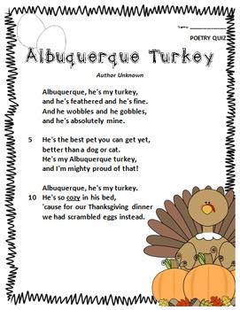 Albuquerque Turkey- Poem and Quiz