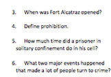 Alcatraz Informational Text and Comprehension Questions