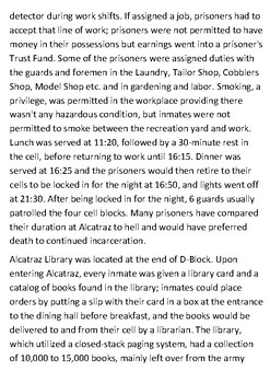 Alcatraz Prison life and the cells Handout