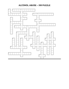 Alcohol Abuse - Crossword Puzzle