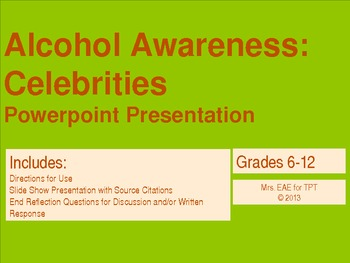 Alcohol Awareness: Celebrities PowerPoint Presentation