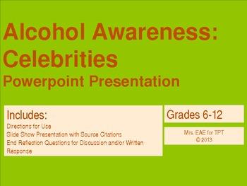Alcohol Awareness: Celebrities PowerPoint Presentation