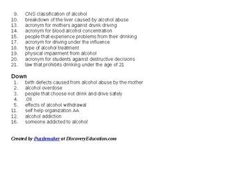Alcohol Crossword Worksheet for Health Education