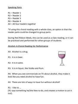 Alcohol Education Choral Reading for Red Ribbon Week