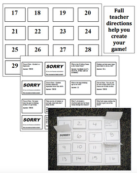 """Health Lesson: Alcohol Facts """"Sorry"""" Board Game"""