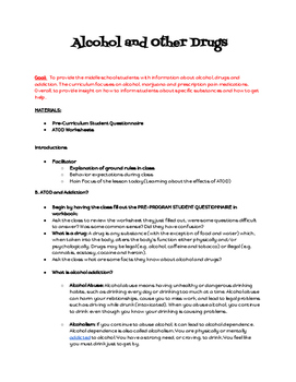 Alcohol, Tobacco and Other Drug Curriculum for Middle School Students
