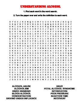 Alcohol Word Search and Vocabulary
