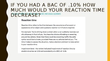 Alcohol and Reaction Time