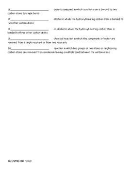 Alcohols, Phenols, and Ethers Quiz or Worksheet for Organic Chemistry