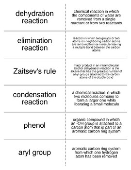 Alcohols, Phenols, and Ethers Vocabulary Flash Cards for Organic Chemistry