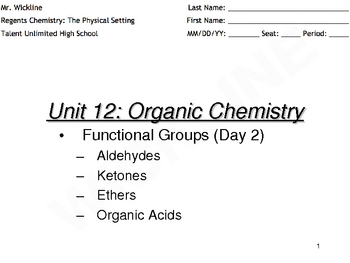 Aldehydes, Ketones, Ethers, and Organic Acids