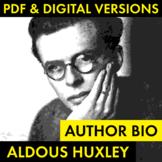Aldous Huxley Author Study Worksheet, Brave New World, Biography Activity, CCSS