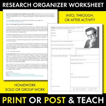 Aldous Huxley Author Study Worksheet, Brave New World, Biography Activity, CCSS