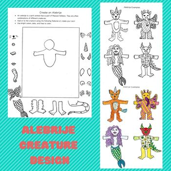 Alebrije design worksheet. Create your own creature! Great Sub plan.
