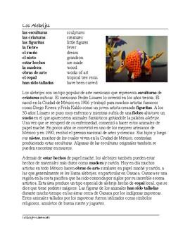 Alebrijes Lectura Cultural: Mexican Folk Art Cultural Reading in Spanish