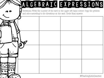 Alegbraic Expression Scoot/Task Cards