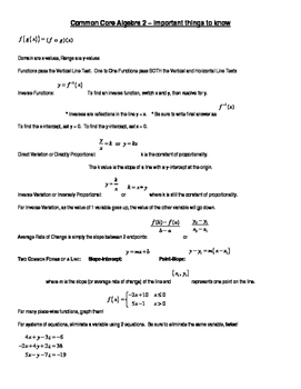 Alegebra 2- Common Core Important Things to Know