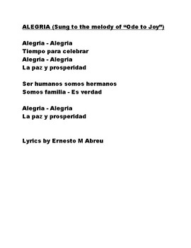 """Alegria ( a song sung to the melody of """"Ode to Joy"""") - secular version"""