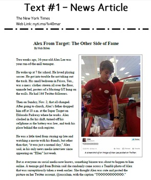 #AlexFromTarget is Internet Famous - Text-based evidence from multiple sources