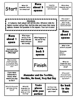 """""""Alexander And The Terrible, Horrible, No Good, Very Bad Day"""" Comprehension Game"""
