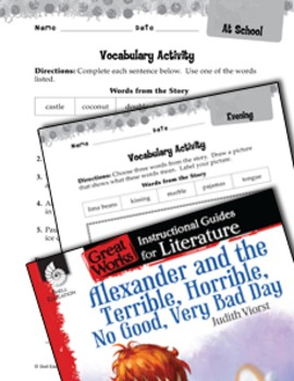 Alexander And The Terrible, Horrible: Vocabulary Activities