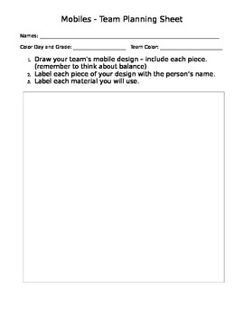 Alexander Calder Mobile Project - Lesson Plans and Planning Sheets
