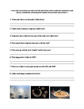 Alexander Calder Worksheet