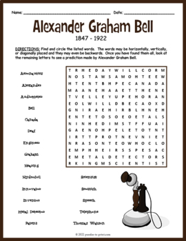 Alexander Graham Bell Word Search Puzzle