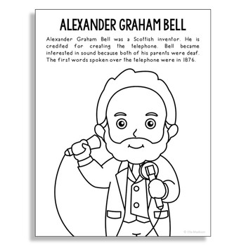Alexander Graham Bell Coloring Page Craft or Poster, STEM Technology History