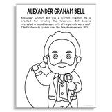 ALEXANDER GRAHAM BELL Inventor Coloring Page Craft or Poster, STEM Technology