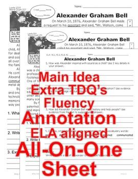 Alexander Graham Bell FACTS Close Read 5 Levels Info Text Fluency TDQ Main Idea