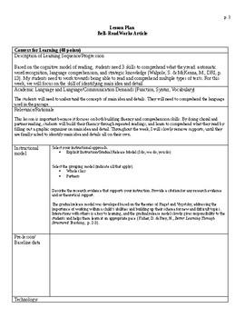 Alexander Graham Bell Main Idea and Detail Lesson Plan