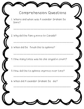 Alexander Graham Bell - Reading Comprehension Biography and Questions