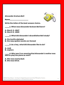 Who Was Alexander Graham Bell? Task Cards