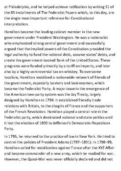 Alexander Hamilton Handout