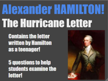Close Reading Alexander Hamilton Hurricane Letter for Middle and High School
