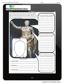 Augustus Ipad Time Machine Interview Printable Common Core Activity