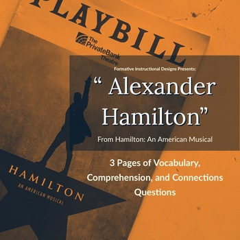 Alexander Hamilton Lesson ELA Worksheet CCSS ELA Vocabulary Comprehension