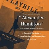Alexander Hamilton Lesson ELA Worksheet CCSS ELA Vocabular