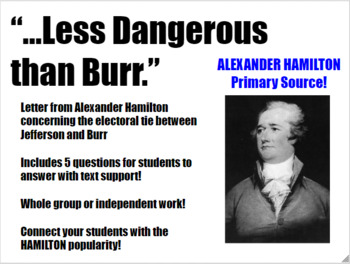 Close Reading Alexander Hamilton Letter For Middle & High School