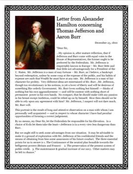 Close Reading Alexander Hamilton Letter