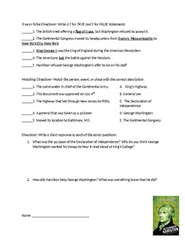 Alexander Hamilton Quizzes (Adapted)