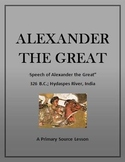 Alexander The Great:  Primary Source Speech with Questions