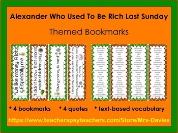 Alexander Who Used To Be Rich Last Sunday Bookmarks With Vocabulary