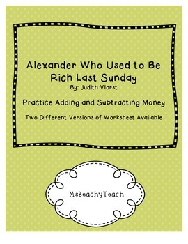 """Money Practice with """"Alexander Who Used to Be Rich Last Sunday"""""""